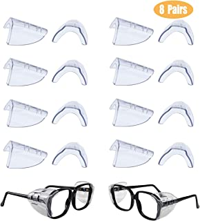 8 Pairs Safety Eye Glasses Side Shields Slip On Clear Side Shields for Safety Glasses, Fits Small to Medium Eyeglasses, Added More Protection on Safety Glasses