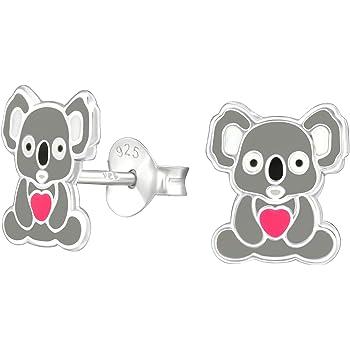 Women Men 925 Solid Sterling Silver Tiny Koala Bear Stud Earrings Unisex Dainty Animal Jewelry