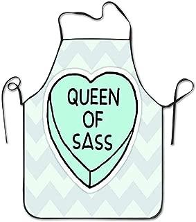 Nienxksecc Queen of Sass Print Apron Unisex Kitchen Bib Apron with Adjustable Neck for Cooking Baking Gardening