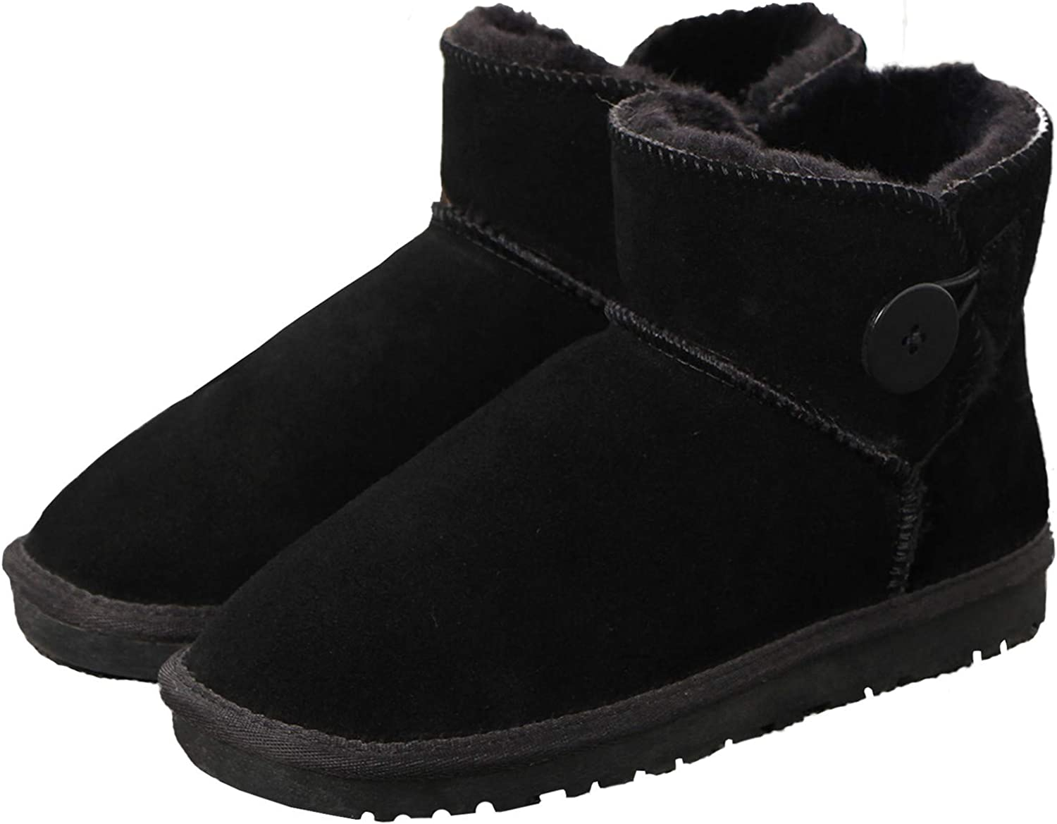 Yaketera Women's Fashion Classic Mid Calf Boot Winter Warm Short Button Comfort Snow Boots shoes