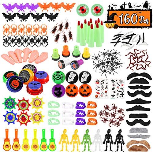 TOYMYTOY 160pcs Halloween Neuheiten Spielzeug, 20 Muster Halloween Party Gefälligkeiten Halloween Leckerbissen Preise Süßes oder Saures Klassenzimmer Goody Bags Gefälligkeiten