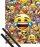 1art1 Emoticonos Póster Mini (50x40 cm) Emoji Collage Y 1 Lote De 2 Varillas Negras