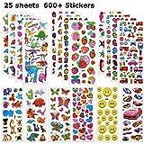 Willingood 3D Sticker Aufkleber Set für Kinder Mädchen 25 Verschiedene Blätter 600+ Geschwollen...