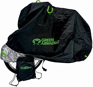 Green Armadillo Premium Waterproof Bicycle Cover with Backpack, 2 Lock Holes, Elastic Hems & Storm Strap for Indoor and Outdoor Bike Storage and Protection