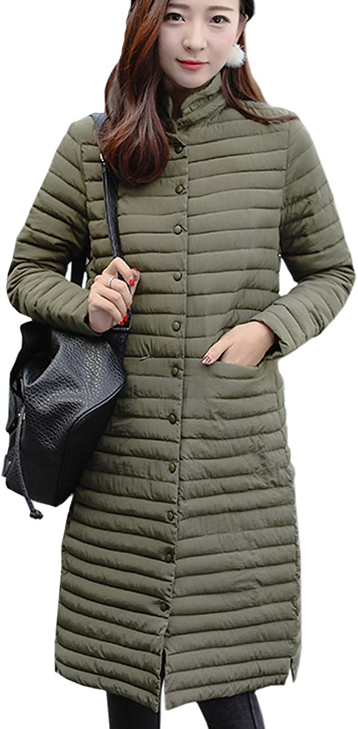 Flygo Women's Winter Lightweight Midi Long Puffer Quilted Down Jacket Parka Coat