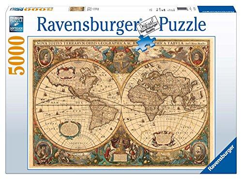 Ravensburger-Mappamondo Antico Jigsaw, 5000 Pezzi Puzzle da Adulti, Età Consigliata 14 +, Multicolore, 17411