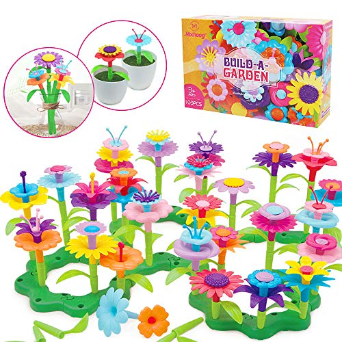 Mochoog Flower Garden Building Toys for Kids, 109 PCS Crafts for Toddler Girls/Educational Toys for Preschool, Christmas Birthday Gifts for 3 4 5 6 Year Old Girls