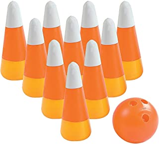 Fun Express Candy Corn and Pumpkin Bowling Set (11 Pieces) Fall and Halloween Toys