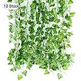 Efeu Künstlich Girlande Hängend Kunstpflanze Deko, 12 Stück Sichtschutz Vorhang Hängepflanze...