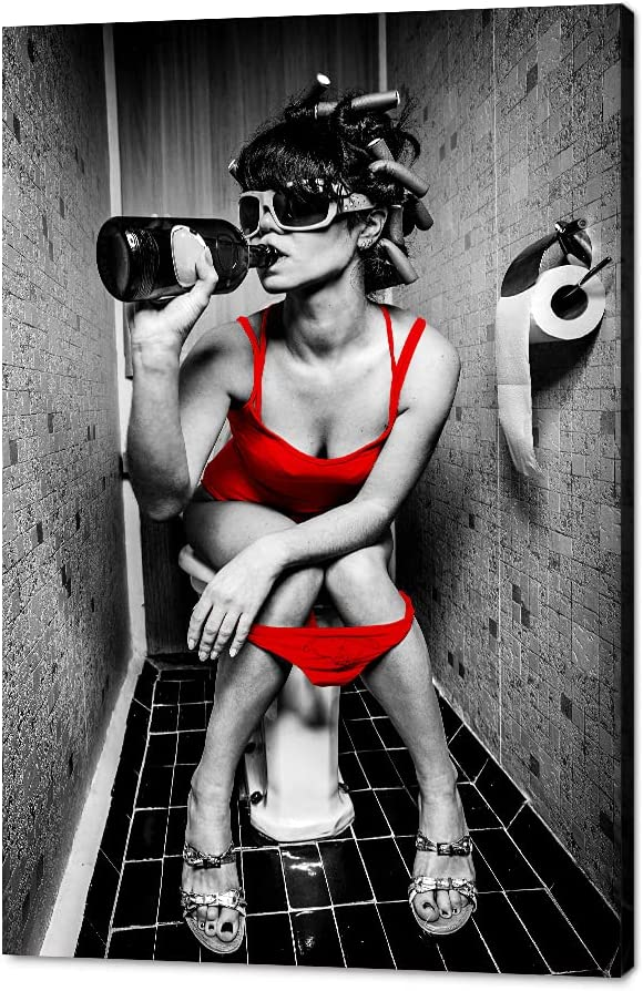 Sexy Super sale Woman Canvas Wall Art Girl A with Smoking in All stores are sold Sitting Toilet