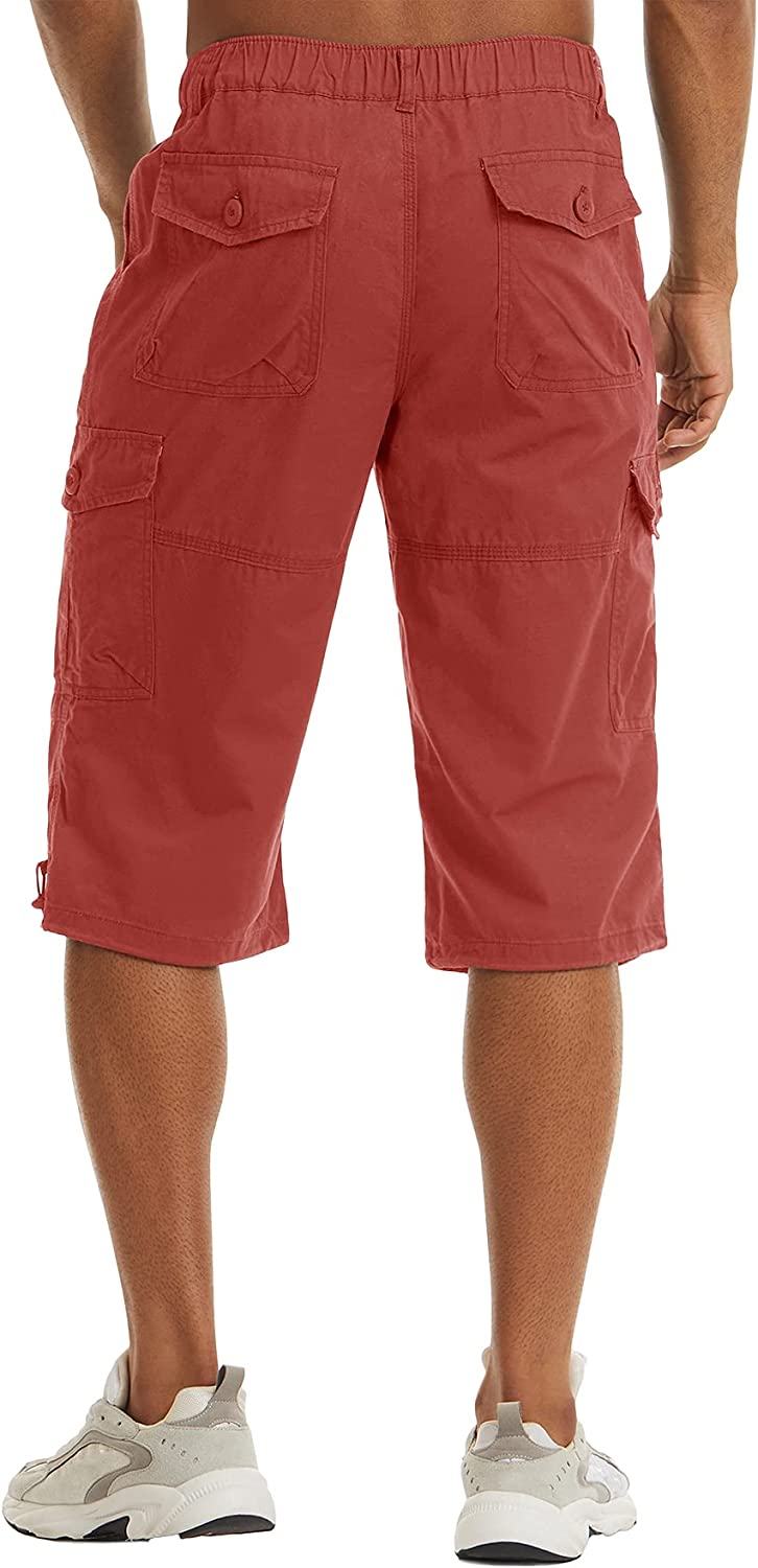 LACSINMO Men's Cotton Cargo Capri Shorts with Pockets Below Knee Loose Fit Big and Tall Outdoor Work 3/4 Pants