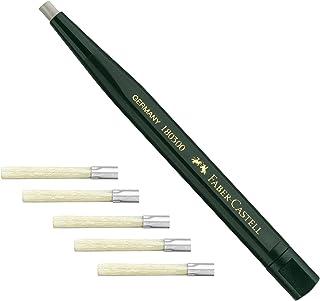 Faber-Castell 180300 - Bolígrafo giratorio con borrador de cristal, color verde + 5 recambios 180600