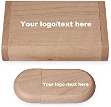 Custom Logo Wood USB Flash Drive 8GB Wooden Pendrive Stick USB Box (Dark)