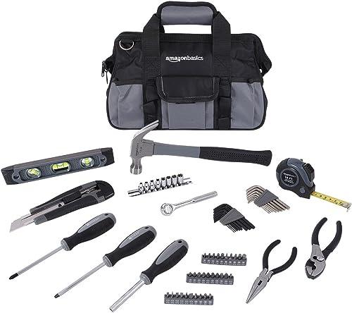 Amazon Basics - Kit de reparación para el hogar de 65 piezas, juego de herramientas básicas para hogar/oficina/reside...