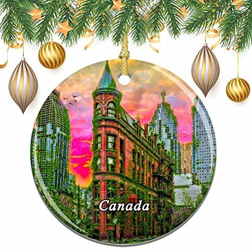 albero di natale ontario Canada Flat Iron Building Toronto Ontario Natale Albero di Natale Ornamento Decorazione Matrimonio Ciondolo Appeso Decorazione Città Viaggio Souvenir Collection
