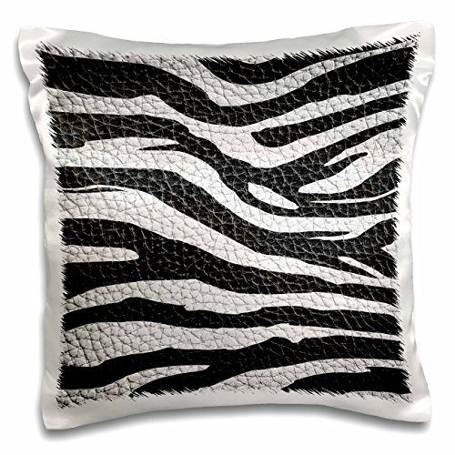 Island Swag Designs Animal Prints - Wild Africa Two Tone Leather Look African Zebra Pattern Safari Animal Print - 16x16 inch Pillow Case