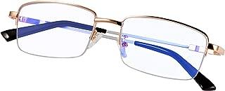 Computer Reading Glasses Blue Light Blocking Titanium Alloy Progressive Lenses Multifocal Spring Hinge Readers Eyeglasses Anti Glare Eye Strain Light Weight for Men Women (Gold +2.5)
