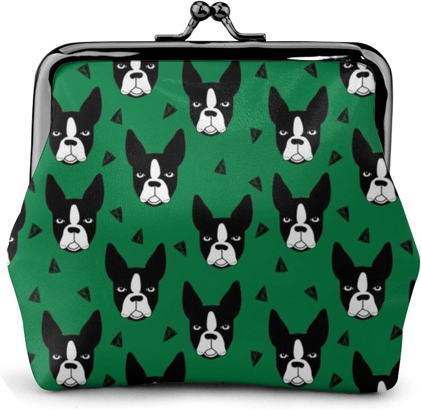 Boston Terrier Kelly 1015 Coin Purse Retro Money Pouch with Kiss-lock Buckle Small Wallet for Women and Girls