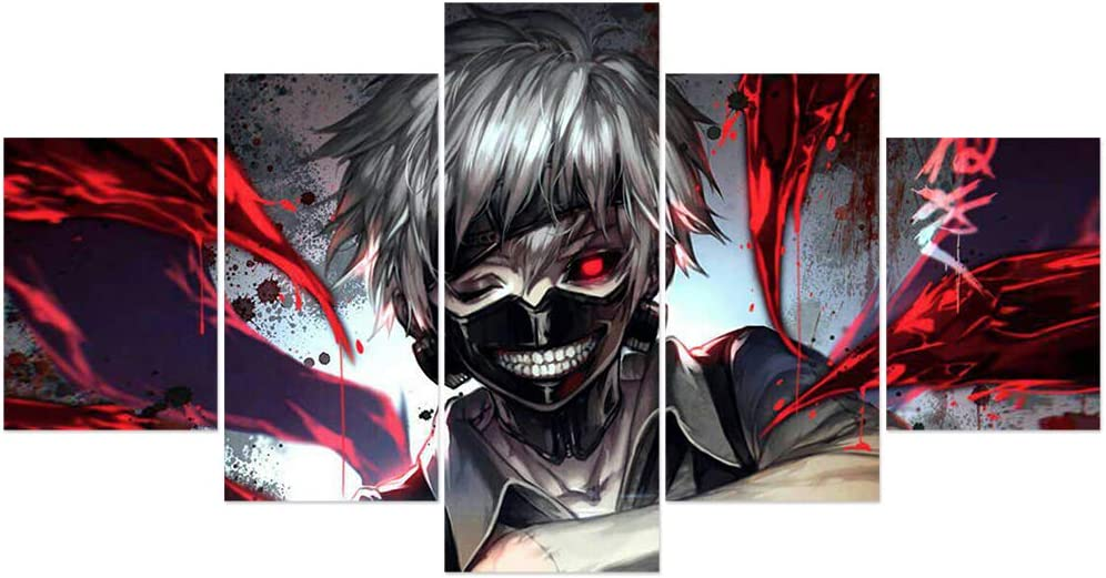 Jackethings Tokyo Ghoul Japanese Anime Poster Kaneki Ken Prints on Canvas Unframed Wall Art Decoration for Home Living Room Club Decor