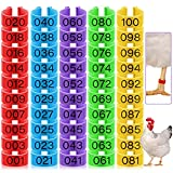 100 Pieces Chicken Leg Rings with 5 Colors Numbered Chicken Leg Bands Colorful Poultry Leg Bands 16 mm Clip-on Chicken Ankle Rings for Ducks Chicks Chicken Guinea Pigeons Goose Gamefowl Turkey