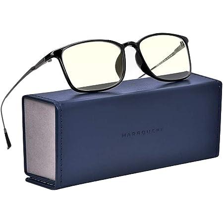MARSQUEST ブルーライトカットメガネ 度なし パソコン用メガネ UVA・UVB・HEVカット 90%有害光カットメガネ 超軽量17g ステンレス鋼材+PEI材料フレーム 眼精疲労軽減 男女兼用モデル PCメガネ スマホ・パソコンメガネ ブルーライト対策 反射防止眼鏡 収納ケース、メガネ拭き付き (ブラック)