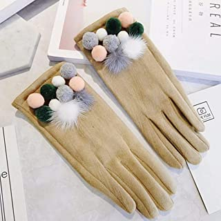 1 Pc (1 Pair) Women Leather Winter Glove Color Khaki Colorful Ball Touch Screen Mittens Unisex Mens Womens Girls Kids Convincing Fashionable Extreme Gym Baseball Hand Wrist Straps Dryer Gloves