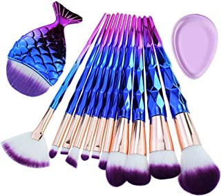 Diamond Handle Makeup Brush Set with Big Fish Tail for Foundation Eyeshadow Lips - 12 Pieces7