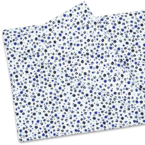 MasterFAB 100% Cotton Fabric by The Yard for Sewing DIY Crafting Fashion Design Printed Floral Washable Cloth (Small Blue Flowers Print)