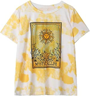 Sharemen Women's Casual T-ShirtsHot!! Summer Sun Floral Printing Short Sleeve O Neck Blouse Tops Daily Beach Tees