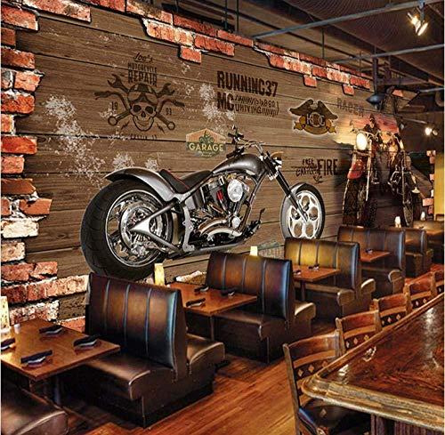 Personalisierung Benutzerdefinierte Retro Motorrad Ziegel Tapete Restaurant Cafe Kreative Dekorationen 3D Geprägte Wandbild 3 D fototapete 3d Tapete effekt Vlies wandbild Schlafzimmer-350cm×256cm