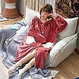 DUJUN Chemise de Nuit à Capuche Douce pour Femme, Pyjama en Velours Corail épais,...