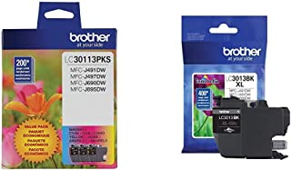 $46 » Brother Genuine LC30113PKS 3-Pack Standard Yield Color Ink Cartridges, Up to 200 Pages Cyan, Magenta and Yellow & Printer ...