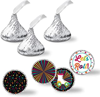 """Roller Skating Birthday Party Kiss Sticker Labels, 300 Party Circle Sticker sized 0.75"""" for Chocolate Drop Kisses by AmandaCreation, Great for Party Favors, Envelope Seals & Goodie Bags"""