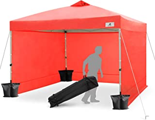 FinFree 10x10 FT Compact Ez Pop up Canopy Tent Outdoor, Folding Canopy Tent, Instant Canopy with 5 Walls and Wheeled Carry Bag, Living Coral