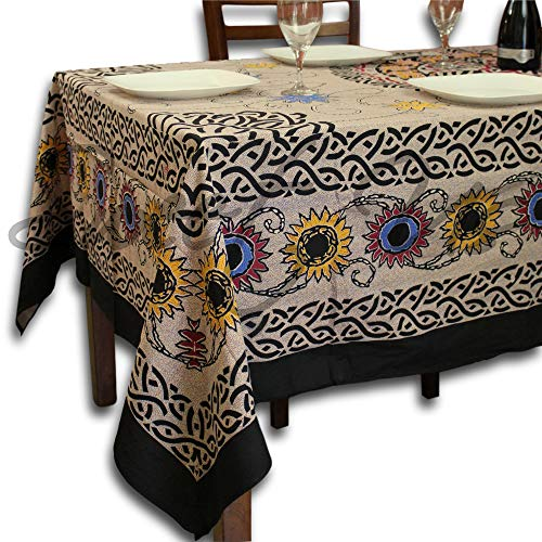 Cotton Celtic Knots Sunflower Tablecloth Rectangle 70x104 inches Beige Red Black Yellow Blue