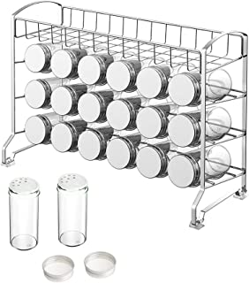 NEX Spice Rack Stand with 18 Empty Jars, Labels and Basket, Chrome