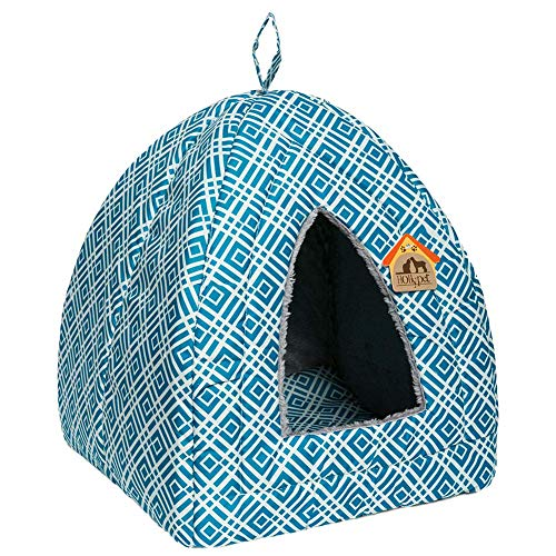 Hollypet Self-Warming 2 in 1 Foldable Comfortable Triangle Cat Bed Tent House