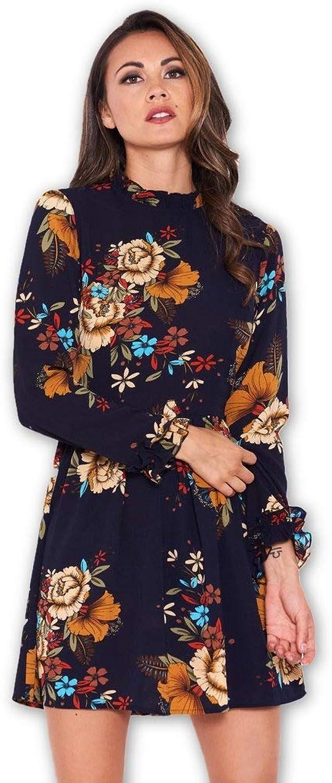 AX Paris Women's Floral Long Sleeved Frill Detail Dress