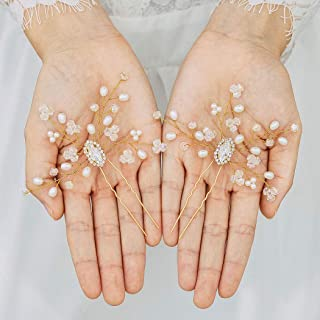 Handcess - Mollette per capelli da sposa con cristalli, con perle argentate, accessori per capelli da sposa e damigelle, c...