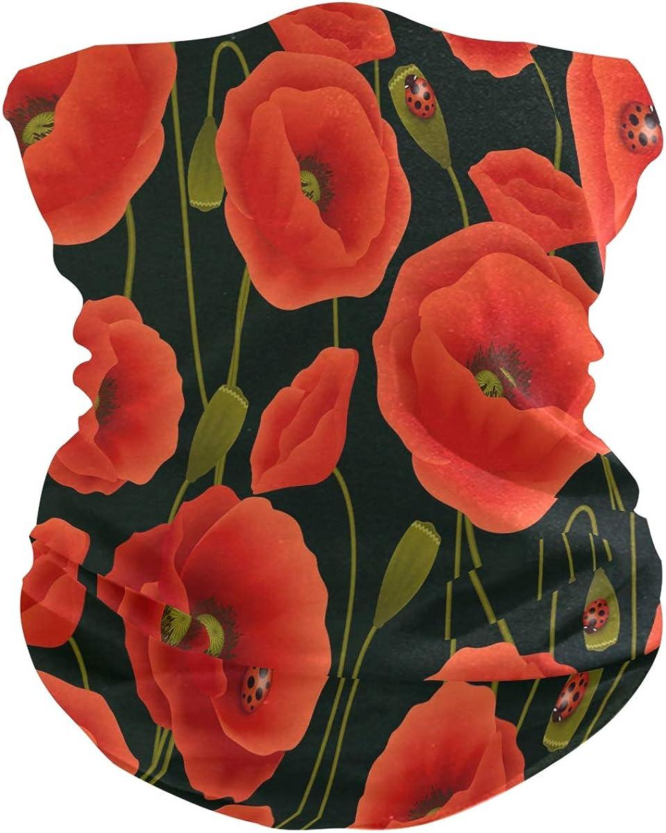 ALAZA Romantic Floral Poppy Flower Headwear Magic Scarf Headband Bandana Outdoor Sports for Men and Women