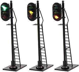 JTD878GYR 3PCS Model Railroad Train Signals 3-Lights Block Signal HO Scale 12V Green-Yellow-Red Traffic Lights Train Layout