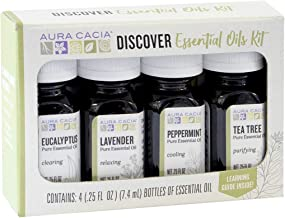 Aura Cacia - Discover Essential Oils Kit | 100% Pure Essential Oils | Contains Lavender, Peppermint, Tea Tree and Eucalyptus Essential Oils (0.25 fl oz each) plus Learning Guide with over 25 Uses