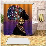 Sticker Superb Duschvorhang mit Haken, Orange Braun Schwarzafrikanerin Abstract Graffiti Vorhang Mehltau Wasserdichter Polyester Stoff Mehltau Badezimmer Duschvorhang (Mehrfarbig 1, 100 x 200 cm)