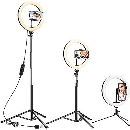 Anozer Aro de luz, 10.2'' LED aro de Luz con 57.1'' Trípode Alto y Trípode Metal de Mesa&Soporte Movil, Anillo luz de 3 modo y 10 Brillo para Transmisión en vivo/YouTube Video/Tiktok/Maquillaje/Selfie