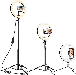 Anozer 10.2'' LED Anillo de luz con Trípode Metal de Escritorio y 57.1'' Trípode Largo Alternativo&Soporte Teléfono, luz d...
