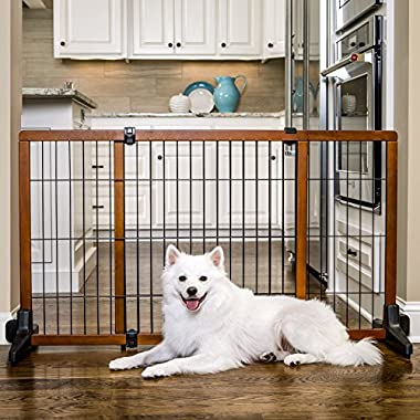 Carlson Pet Products 2870 Freestanding/Pressure Mount Wooden Pet Gate, 40-70 by 28 , Brown