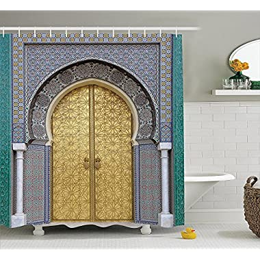 Ambesonne Moroccan Decor Shower Curtain Set, Antique Doors, Morocco Gold Doorknob Ornamental Carved Intricate Artistic, Bathroom Accessories, 69W X 70L inches