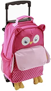 Yodo Zoo 3-Way Toddler Backpack with Wheels or Little Kids Rolling Suitcase Luggage, with Front Pouch and Side Bottle Holders, for Toddler Boys and Girls, Owl