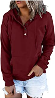 Fall Hoodies for Women Fashion Button Down Drawstring Pullover Hooded Sweatshirts Long Sleeve Fall Tops Sweaters Shirt