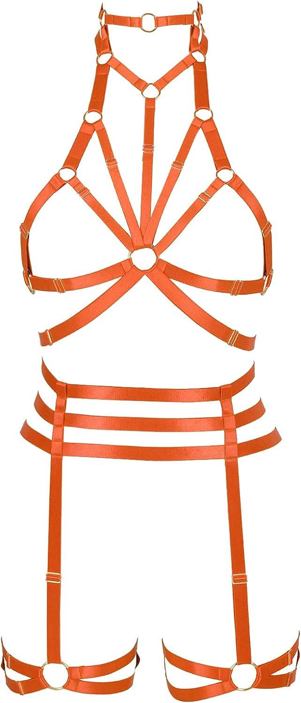 Lingerie cage Halloween Full body harness for women Punk Gothic Bra Garter belt set Chest strap Festival Rave Plus size